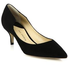Paul Andrew Manhattan Suede Pumps (15.782.095 VND) ❤ liked on Polyvore featuring shoes, pumps, apparel & accessories, black, suede kitten heel pumps, black shoes, black kitten heel shoes, pointy toe pumps and kitten heel shoes
