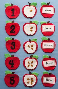 He encontrado este interesante anuncio de Etsy en https://www.etsy.com/es/listing/248687541/apple-seed-counting-felt-board-game