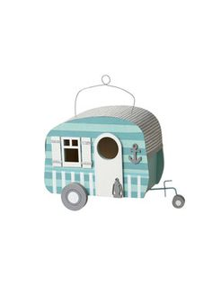 Midwest-CBK 126545 Home,Decorative Stripe Beach House Camper Birdhouse with Anchor, Garden & Patio Midwest-CBK Outdoor Décor Home