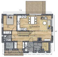 LATO 58 A - Kannustalo House Blueprints, Small House Plans, Floor Plans, How To Plan, Houses, Diy, Little House Plans, Homes, Tiny House Plans