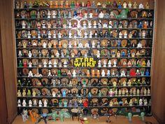 LEGO Star Wars Minifigures with nice custom shelving.