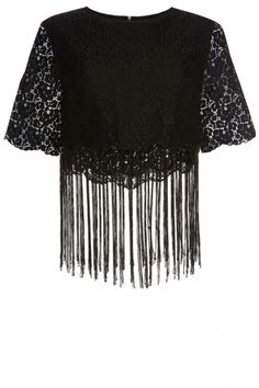 Primark Black Lace Tassle Top, £14