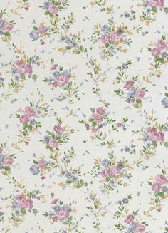 Whimsical Blue and Pink Rose Wallpaper from the book Satin Rose   AmericanBlinds.com