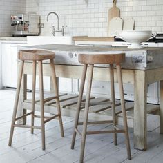 Oak Stool - These stools from Cox & Cox are wonderfully rustic and perfect for warming up a sleek white kitchen. Pull a few stools up to your kitchen island and create an inviting spot for friends and family to mingle while dinner is being prepared.