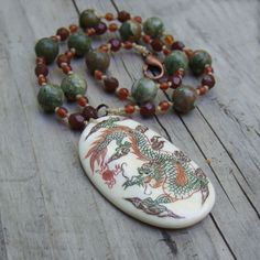 Bone Dragon Necklace - Natural Stone Jewelry - One of a Kind Statement Jewelry by Colorway Jewelry, $45.00