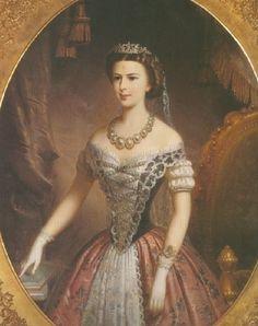 Portret door onbekende artiest van Elisabeth Amalie Eugenie (Sisi) in Hongaarse kledingdracht.