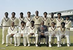 The West Indies cricket team in Manchester for the Prudential World Cup match against Sri Lanka at Old Trafford, 7th June 1975. West Indies won by nine wickets. Back row (left-right): Gordon Greenidge, Maurice Foster, Viv Richards, Keith Boyce, Vanburn Holder, Andy Roberts, Collis King, Bernard Julien, Alvin Kallicharran. Front row: Rohan Kanhai, Deryck Murray, Clive Lloyd, Clyde Walcott, Lance Gibbs and Roy Fredericks.