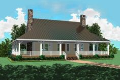 Country Style House Plan - 3 Beds 2.5 Baths 2207 Sq/Ft Plan #81-101 Exterior - Front Elevation - Houseplans.com