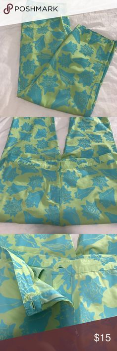 Vintage Lilly Pulitzer Pants VNT Lilly Pulitzer Blue & Green shell ankle pants- Top button is missing but the second button is still intact, otherwise perfect condition- size 12 Lilly Pulitzer Pants