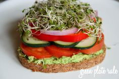 Veggie Sandwich with Avocado Spread. The avocado spread is made with avocado, lemon juice, salt, pepper, and the optional ingredients of jalapeño, garlic, cilantro, basil, and/or parsley. In the sandwich, use tomato, cucumber, bell pepper, onion, and sprouts.