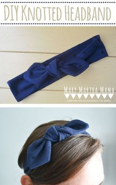How to Sew a Knotted Headband- Full tutorial and pictures for DIY Knotted Headband- Mary Martha Mama #sewing #sewingproject #diyheadband #scrapbuster