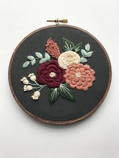"This complete floral embroidery kit includes:  « Printed cotton fabric « 5"" embroidery hoop « Full skeins of DMC embroidery floss « Embroidery Needle « PDF stitching guide along with tips (emailed after purchase, will not be shipped)  This kit is suitable for stitchers of all levels.   I would love to see your progress as you stitch and your finished result!   « Instagram: hoffeltandhooperco « Pinterest: https://www.pinterest.com/hoffelthooperco « Facebook: https:/&#x..."