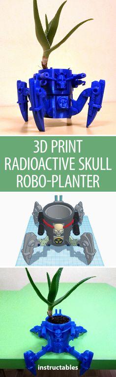 3D Print Radioactive Skull Robo-Planter (using Tinkercad!)