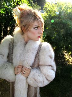 25% off!  Luxurious Vintage Silver Fox and Reindeer Fur Coat by ZoeDuJour, $800.00