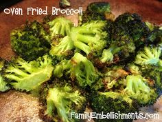 Oven Fried Broccoli - I don't even like broccoli, but I love this!  FamilyEmbellishments.com