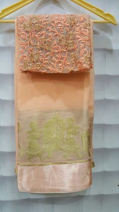 Pure georggete sareees satin palakhi border with designer blouses   Buy On;ine Georgette saree   Elegant Fashion Wear