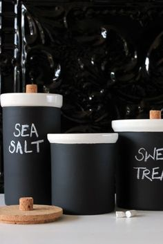 Chalkboard Black Storage Jars with Cork Lids - Rockett St George