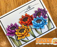 While I was sick last week, I sat and colored and cut this flower over and over to practice with my Prismacolor pencils. I decided they needed to go on a card! This flower is from A Year of Flowers 3 by @melaniemuenchinger and the greeting is from Scripty Sayings. Available at www.ginakdesigns.com. I have to practice more to get ready for @kathyrac 's 30 day coloring challenge! I can't wait! ❤️#ginakdesigns #stamptv #papercraft #coloring #prismacolorpencils #crafty #flowers #cardmaking…
