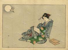 Japanese Pretty girl Original Antique Woodblock by Printvilla4you