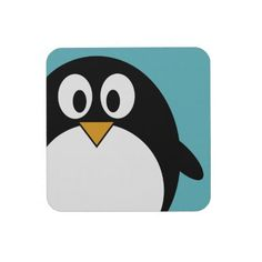 Cute Penguin Cartoon Illustration Coaster: KIDDIE COCKTAILS ONLY ;)