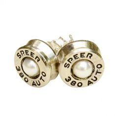 Pearl Bullet Stud Earrings - Sterling Silver