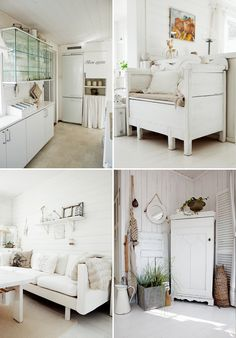 different textures, different shades of white and the introduction of splashes of colour brings this room alive.