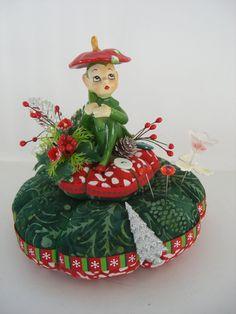 Vintage Christmas Elf  Pincushion Centerpiece  Pin Keep Table Decoration   Pin Cushion. $26.00, via Etsy.