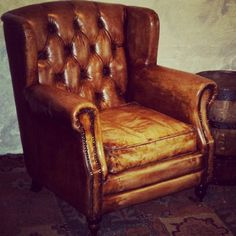 Vintage leather armchair Vintage Sofa, Vintage Leather, Wingback Chair, Armchair, Accent Chairs, Vintage Fashion, Room, Furniture, Home Decor