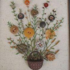 Button art - love the stitchery fronds!