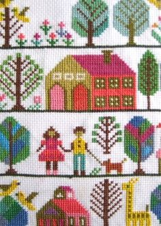 "1970's Style Cross Stitch did my first crossed stitch for my mom.   ""HOME SWEET HOME"" in rainbow colors.  Think she may still have it up surprisingly,"