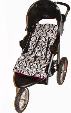 Damask print reversible plush pad/seat liner for stroller