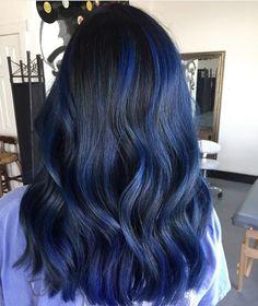 Dark Blue Hair, Blue Ombre Hair, Ombre Hair Color, Hair Color For Black Hair, Blue Hair Colour, Midnight Blue Hair, Royal Blue Hair, Blue Hair Highlights, Hair Color Streaks