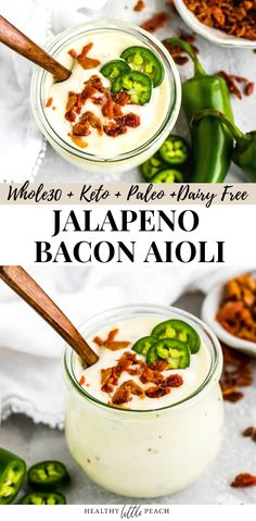 Jalapeno Bacon Aioli Keto) This Jalapeno Bacon Aioli is super simple to make and has minimal ingredients. Filled with bacon, lime juice and jalapenos. It is Keto, and Dairy Free. Dairy Free Sauces, Paleo Sauces, Low Carb Sauces, Dairy Free Recipes, Keto Recipes, Dinner Recipes, Healthy Recipes, Bacon Recipes, Cocktail Recipes