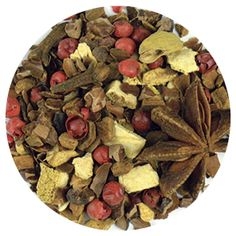 Product # 8242  Cocoa Bean Chai, 3.52 oz (100 g)   This cocoa, anise, and Indian spice blend can be enjoyed by the campfire. Ingredients: Cassia bits, cocoa kernels, cocoa bean peels, orange peels, star anise, ginger bits, pink pepper kernels, cardamom, spices. Organic certified ingredients. Price: $17.00