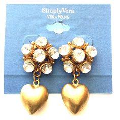 Vera Wang Heart Earrings NWT New antique look Vera Wang Earrings !! Gold tone with gem stones . Vera Wang Jewelry Earrings