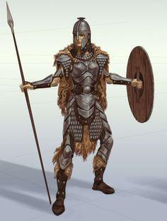 Steel Armor concept art from The Elder Scrolls V: Skyrim by Adam Adamowicz