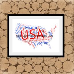 Map Of USA Word Art, Personalised Map Of America, American Word Collage, American Word Art, State Word Art, Map Art, American Word Cloud. by DomesticGoddessCraft on Etsy https://www.etsy.com/uk/listing/266331044/map-of-usa-word-art-personalised-map-of