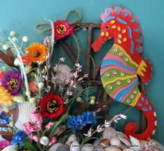 Beach decor Tropical Sea Horse floral and by CarmelasCoastalCraft