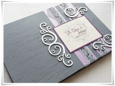 soft purple, gray and silver wedding guest book, vintage theme