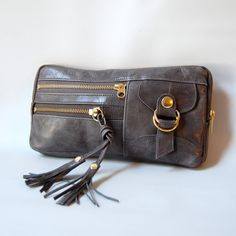 6 pocket Vigga clutch in steel grey on Etsy, $85.00