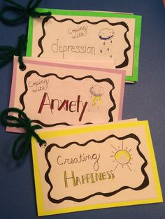 Printable Cards that identify conversation starters and coping skills related to anxiety, depression and creating happiness