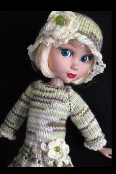 Handknit dress set made for Wilde Imagination Patience Dolls