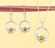 Celtic Valentine - Two-Tone Claddagh Jewelry: The hand-wrought look of hammered silver combines with a gleaming golden Claddagh for a heartfelt statement of love, loyalty and friendship.