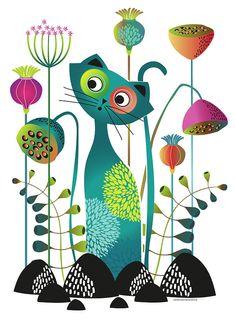 Cat Digital Art - Cat In The Garden by Johanna Virtanen Drawing Lessons, Art Lessons, Cat Doodle, Cute Little Baby Girl, Cat Background, Owl Art, Cat Drawing, Whimsical Art, Elementary Art