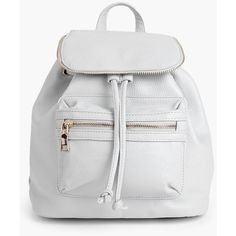 Boohoo Lydia Zip Detail Rucksack (€27) ❤ liked on Polyvore featuring bags, backpacks, grey, crossbody bags, grey evening bag, grey crossbody, backpacks bags and backpack crossbody
