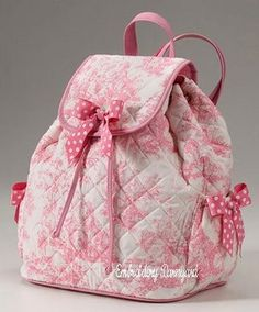 pink toile quilted backpack