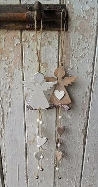 Hanging angel with hearts & bell - Hearts and Hens - Country Christmas.possible salt dough ornaments? Angel Crafts, Christmas Projects, Holiday Crafts, July Crafts, Christmas Angels, All Things Christmas, Christmas Ornaments, Country Christmas, Diy Christmas
