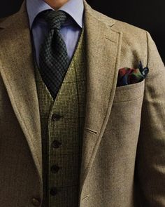 """lacasuarina: """" Calm before the storm. J. Press herringbone tweed jacket Vintage green tweed waistcoat Yellow Hook Neckties wool/cashmere tie Drakes X LuxeSwap wool silk pocket square I cannot wear a waistcoat ever without thinking of the time..."""