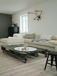 pallett coffee table via unconsumption.tumblr.com. Rustic and worn mixed with contemporary.