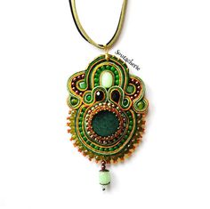 Soutache necklace  Green statement necklace  by Soutacherie